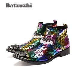 Wholesale iron motorcycle club - Batzuzhi Western Cowboy Rock Boots Men Pointed Iron Toe Color POP Night Club, Stage Men's Boots Zip Beads Party Boots Men Botas