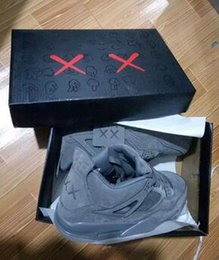 Wholesale Limited Edition Sneakers Man - 2017 New KAWS x 4 Grey Basketball shoes Limited Edition Air 4s VI Gool Grey Suede Shoes Kaws x Men Sports Sneakers WithBox