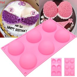 Wholesale Chocolate Ball Mold - 6 Half Ball Round Shape Silicone Cake Mold DIY Chocolate Soap Molds Sugar Craft Cake Decorating Tools Form Flexible Bra Cake Mould LPB001272
