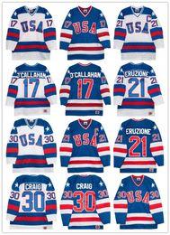 Wholesale Usa Olympics Hockey Jersey - 1980 Olympics Team USA Hockey jersey #30 Jim Craig 21 Mike Eruzione 17 Jack O'Callahan Royal Blue White Throwback Stitched Vintage Jerseys
