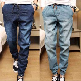 Wholesale Blue Jeans Stretch - New Mens Denim Jeans Men Drawstring Slim Fit Denim Joggers Mens Joggers Jeans Stretch Elastic Jean Casual Pencil Pants M-XL
