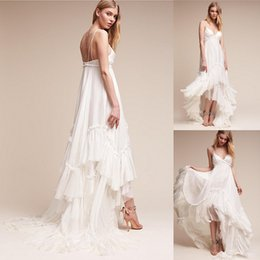 Wholesale High Low Skirt Cheap - Ivory Summer Beach Bridal Gowns Spaghetti Straps Boho Wedding Dress 2017 New Arrival Bohemian High Low Style Cheap Wedding Dresses