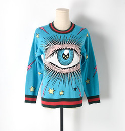 Wholesale Oversized Wool Sweater - Winter Oversized Sweater Women Runway Pullover 2017 New Fashion Blue Eye Embroidery Chic Design Sweaters Jumper Knit Tops