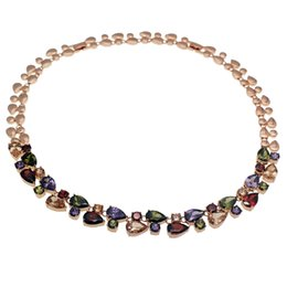 Wholesale Natural Gemstone Pendants Amethyst - Natural Gemstone Charms Sparkle Morganite Red Garnet Peridot Amethyst Rose Gold Women Jewelry Necklace 16 Inch