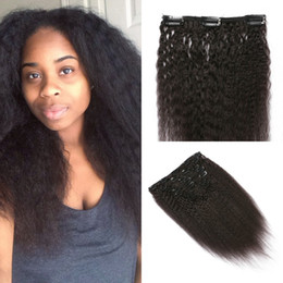 Wholesale Mongolian Yaki Hair - 120g 7pcs full head kinky straight clip in extensions no shedding virgin malaysian yaki clip in hair extensions FDshine