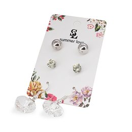 Wholesale Cheap Heart Shaped Earrings - 2017 new Korean fashion jewelry stud earrings 3 pair set cheap earrings with heart-shaped crystal for young girls as gift