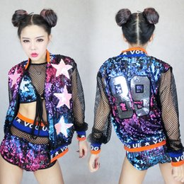 Wholesale Sexy Leotard Uniforms - DJ DS female singer atmosphere stage costume photography colorful Sequin color baseball uniform three piece female sexy costume