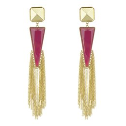 Wholesale Gemstone Party Earrings Gold - Brinco Argola New Fashion Created Gemstone Triangle Stud Design with LongTassel Earrings For Women Pendientes Largos