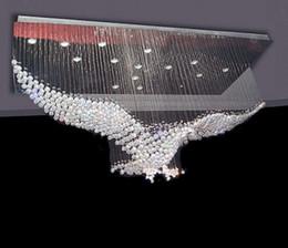 Wholesale Flush Mount Chandelier Lighting - New Eagles Design Luxury Modern Crystal Chandelier Lighting Lustre Hall LED Lights Cristal Lamp L100*W55*H80cm 110v-220v LLFA