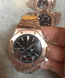 Wholesale Sapphire Royal - Luxury High Quality Watch Royal Oak rose gold quartz watch a Chronograph Black Dial and bule Dial Men's Watch 26320ST.OO.1220ST.01 men wat
