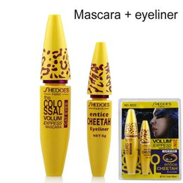Wholesale Cheetah Sets - Wholesale-2016 Brand New Professional Make up Eye liner Set Leopard Colossal Black Mascara + Liquid Entice Cheetah Eyeliner 2 in 1 set