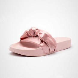 Wholesale Black Low Heel Shoes - (With Box+Dust Bag) Rihanna Fenty Bandana Slide Wns Bowtie Women Slippers Beach Shoes 10 Colors Summer New Arrival BOW SATIN SLIDE SANDALS