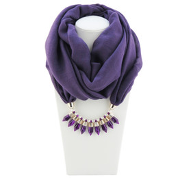Wholesale Crystal Spike Collar - Newest Cheap Fashion Ladies Scarf Direct Factory Crystal Spike Pendant Neckerchief Women Punk Collar Bullet Necklace Scarves From China
