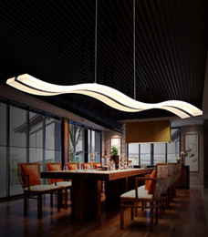 Wholesale Simple Study Room - 38W Wave Chandelier LED Pendant Lights Living Room Simple S shaped Acrylic Indoor Droplight Home Lighting Fixture