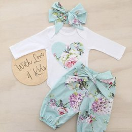 Wholesale Bow Legged Toddler - 2016 INS Baby girl Toddler Spring outfits 3piece sets Long sleeve Rose Floral Romper Onesies Jumpsuits + Pants Legging + Bow headbands Cute