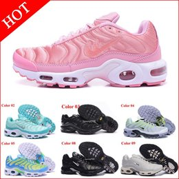 Wholesale New Athletic Shoe Brand - Brand New Plus Tn Air Shoes For Women Black White Womens Sports Running Shoes Pink Blue Woman Best Athletic Trainers Sneakers Tennis Shoes