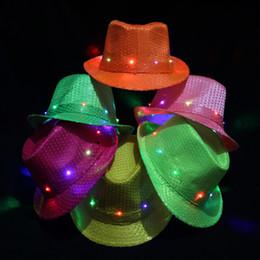 Wholesale Hip Hop Jazz - Flash Jazz Hat Unisex Stage Dance Party Sequins Caps Hip Hop LED Flashing Lamp Glow Hats Multi Color Optional 9 zj F