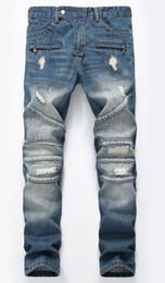 Wholesale Mens Skinny Denim Shorts - New Men's Distressed Ripped Skinny Jeans Fashion Designer Mens Shorts Jeans Slim Motorcycle Moto Biker Causal Mens Denim Pants Hip Hop Jeans