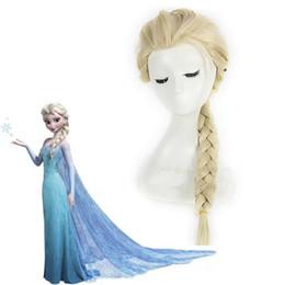Wholesale Wigs For Halloween Costumes - Z&F Elsa Let It Go! Princess Cosplay Wig For Kids Blonde 50CM Children Big Braid Halloween School Show Costume For Unisex Audlt