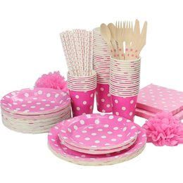 Wholesale White Paper Straw - Wholesale-Promotion Rose Red & White Polka Dots Tableware Party paper plate cups napkins paper straw Cutlery Set Knives Forks Spoons