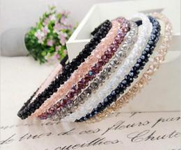 Wholesale Wholesales Steel Headband - Women Handmade Headband Flower Crystal Beads Hairband Hair Band Hair Clasp Hot Selling HJIA548