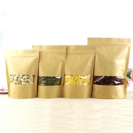 Wholesale Free Tea Bags - Zip lock Kraft Paper Window Bag Stand up Gift dried food fruit tea packaging Pouches Zipper Sel Sealing Bags Free Shipping