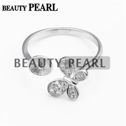 Wholesale 925 Silver Butterfly Ring - Bulk of 3 Pieces Butterfly Ring Jewellery Findings Sterling 925 Silver for DIY Pearl Ring Mount