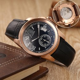 Wholesale Business Classic Wristwatches - 10styl classic brand watches men black face black leather strap gold watch calibre de automatic see through watch men's dress wristwatches