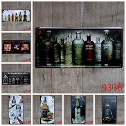 Wholesale Metal Craft Wine - Vintage Metal Posters Wine Beer Bottle Cups Tin Signs Trippy Posters Metal Crafts Painting Wall Stickers for Bar Club Gallery Mural Decor