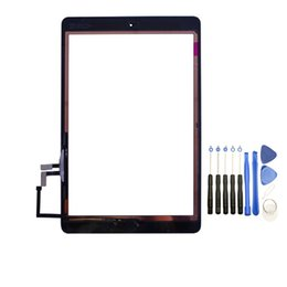 samsung tab branco Desconto Tela 10PCS Toque digitador painel de vidro com botões adesivo Assmembly para iPad Air com Ferramentas preto e branco