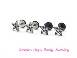 Wholesale Korea Stainless Steel Jewelry - Five Star Earrings Black White Oil Popular Men's Jewelry Screw Back 16G Bar 316L Stainless Steel Women Korea Cheater
