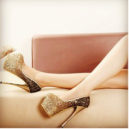 Wholesale Glitter Sheeting - HOT!! 2016 Costly temperament lady with a sexy golden glitter silver wedding shoe bride shoes with 15 cm 16 cm thin sheet
