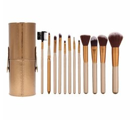 Wholesale Makeup Brushes Cup Leather - 2017 New Gold Professional Makeup Brushes Cosmetic 12pcs Set Synthetic Hair Kit with Leather Coffee Glod Cup Holder Case kit