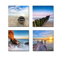 Wholesale Framed Landscape Photos - Modern 4 PCS Wall Decor HD Seascape Painting Canvas Pictures Custom Canvas Prints Photo for Home Decor