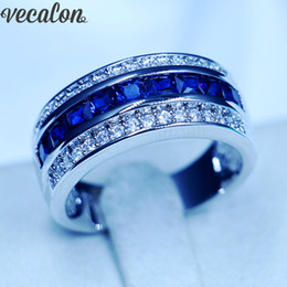 Wholesale Pearl Rings Men - Vecalon Princess cut sapphire Cz Wedding Band Ring for Men 10KT White Gold Filled Male Engagement Band ring
