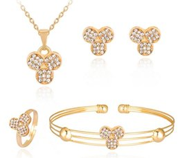 Wholesale Clover Diamond Earrings - Girl Lady Clover Choker Ear Studs Bangle Ring 4 Pieces a set Adjustable Size Crystal Earrings Wristband Bracelet