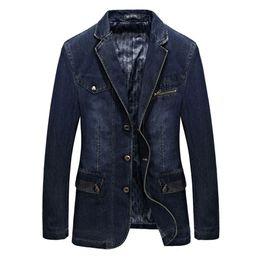 Wholesale Fitted Denim Blazer - Wholesale- 2017 New Arrival Brand Clothing Men Jackets Denim Blazer Overcoat Slim Fit Jeans Casual Blazer Jacket Coats CLOTHES Long Sleeve