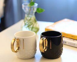 Wholesale Ceramic Cups Handles - Classic Starbucks Golden handle Embossed Mug 355ML Black white Mermaid goddess ceramic coffee cup Couple cups gift