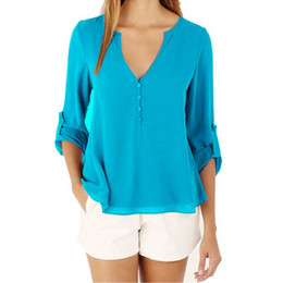 Wholesale Top Clothing Wholesaler China - Wholesale- Brand Pullover T Shirt Cheap Clothes China V-Neck Long Sleeve Fashion Summer Women Clothing Tops Tee Female Casual Basic T-shirt