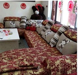 Wholesale Damask Cushion Covers - European top-grade thickening chenille jacquard sofa fabric sofa sets of sofa cover pillow cushion cushion sets
