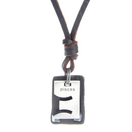 Wholesale Pisces Pendant Necklace - High Quality 100% Genuine Leather Necklace Punk Jewelry Fashion Retro Nostalgia Pisces Pendant Necklace Free Delivery