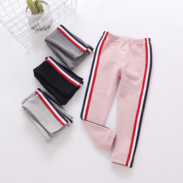 Wholesale Red Stripe Leggings - Big girls leggings kids red white black stripe tights fashion children cotton bottoms 2017 new Autumn Kids clothing G0659