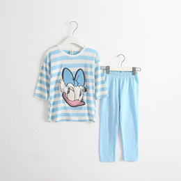 Wholesale Cotton Striped Pajamas - 2017 hot selling NEW ARRIVAL Girls striped cute duck bow home pajamas two sets girls causal 100% cotton girls sets free shipping