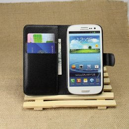 Wholesale S3 Flip Cover White - Leather Case For Samsung Galaxy S3 i9300 SIII Wallet Style Flip Style Phone Bag Cover For Samsung Galaxy S3 Cases