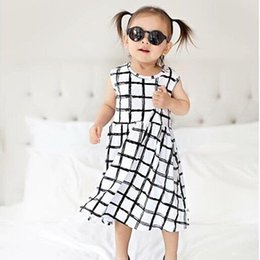 Wholesale Silk One Piece Dress - Baby Clothes Girls Dress Princess Dresses INS 2017 Girl Summer One-Piece Sleeveless Grid Skirt Kids Clothing XY166