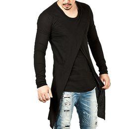 Wholesale Mens Striped Long Sleeve Shirts - 2017 Men Autumn Winter Hip Hop Streetwear Slim Fit Long Sleeve T Shirt Mens Fashion Irregular Black Pullovers ZL3394