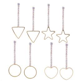 Wholesale Love Dangle Earrings - Long Earrings Four-Piece Set 2017 Fashion Burst Combination Of Earrings Love Five-Pointed Star Geometric Shape Pendant Earrings