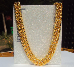 "Wholesale 24 Solid Gold Chains - Big Miami Cuban Link Necklace Thick about 25mil Real solid Gold Finish Thick Chain 24"" 11mm HAVE TRACKING NUMBER"