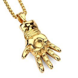 Wholesale Hip Hop Big Chains - New Personalized Design Big Pendant Necklaces Fashion Jewelry 18K Gold Plating Chains Rock Micro Hip Hop Filling Pieces Men Necklace
