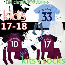 Wholesale Kids Walkers - 17 18 kids home away soccer Jersey Kits socks KUN AGUERO STERLING Walker DE BRUYNE GUNDOGAN G.JESUS away Sane Bernardo child Football Shirts